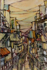 Fire Escapes (1999) acrylic on canvas
